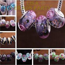10/50pcs Murano DIY Lampwork Glass Big Hole Beads Fit European Charm Bracelet