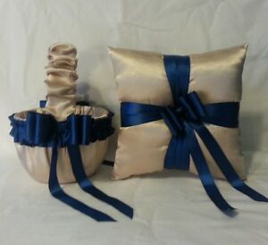CHAMPAGNE SATIN / NAVY BLUE TRIM FLOWER GIRL BASKET & RING BEARER PILLOW