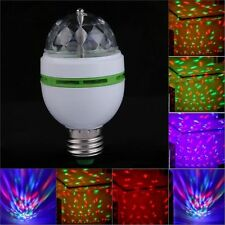 3W E27 LED Full Color DJ Stage Light Bulb Auto Rotating Crystal Party Disco Lamp