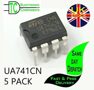 5 x UA741CN DIP8 General Purpose Single Operational Amplifier LM741 **UK STOCK**
