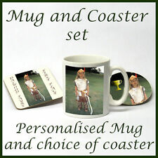 Personalised MUG  & COASTER SET ANY image/text  GIFT !