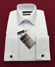 More details for white marcella mess dress shirt, double two golf ball double cuffs, army, size