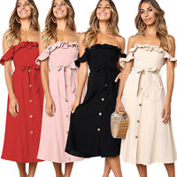 Womens Frill Off Shoulder Lace Up Wrap Midi Dress Party Casual Buttons Sundress