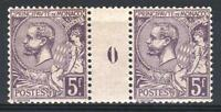 """MONACO STAMP TIMBRE 46 """" PRINCE ALBERT 1er 5F VIOLET PAIRE MILL"""" NEUF xxTTB M705"""