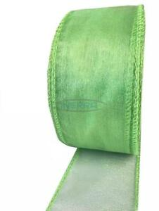 Light Lime Green - Organza Wired Edge Ribbon - 20 Metres x 50mm