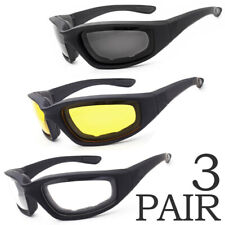 3 PAIRS Padded Foam Safety Wind Resistant Sunglasses Motorcycle Riding Glasses