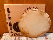 "Pampered Chef 15"" Stoneware Round Baking Stone Pizza Very Good Condition Used"