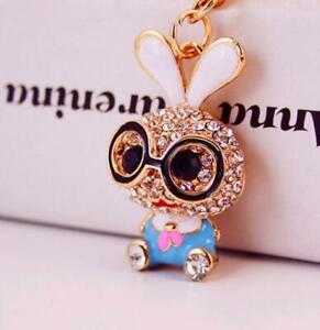 Hot Betsey Johnson Enamel Jewelry Pendant rhinestone eye Bowknot rabbit necklace