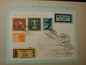1929 REGISTERED AIRMAIL COVER AUSTRIA ÖSTERREICH TO NEDERLAND INDIES W99.6 $0.99