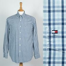TOMMY HILFIGER MENS SHIRT BLUE CHECK PLAID PATTERN BUTTON DOWN COLLAR OXFORD M