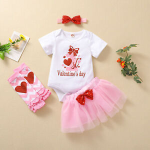My 1st Valentine's Day Baby Girl Romper Clothes Tops Bodysuit+Skirt Outfits Set