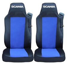 2x Seat Protector Covers for SCANIA G P R Tailored HGV Truck Lorry Black/Blue