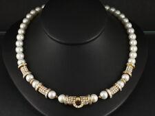 Wertvolles Akoya Perlen Brillant Collier ca. 14,90ct    750/- Gelbgold