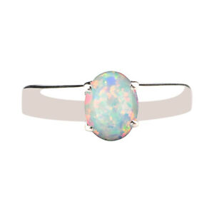 14KT Gold With 1.00Ct Round Cut Natural Australian Full-Fire Opal Solitaire Ring
