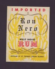 VINTAGE RUM LABEL / RON NERO / ST THOMAS VIRGIN ISLANDS / 1960's MINT