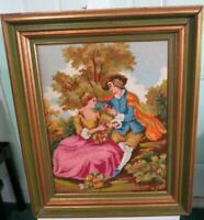 """Vintage Needle Point Picture In Wood Frame Colonial Scene 24""""Tall x 20""""W"""