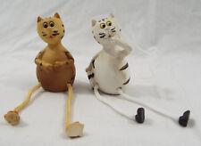 "1 Pair- 2 Two Roped Dangle Leg Resin Cats Figures White Orange Cat 4"""