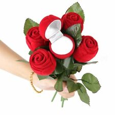 Non Woven Fabric Artificial Rose Flower Engagement Ring Gift Box Surprise Design