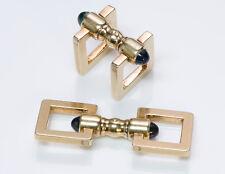 Vintage Cartier Cabochon Sapphire 14K Yellow Gold Cufflinks