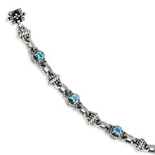 "Swiss Blue Topaz 7.75"" Tennis Bracelet Sterling Silver Gold Accent Shey Couture"