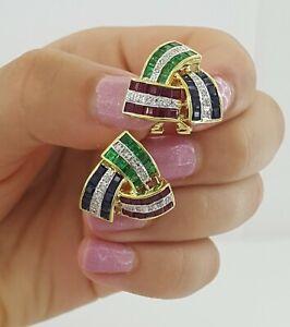 14K Yellow Gold 4.5 ct Diamond Ruby Sapphire & Emerald Earrings 7.2 grams