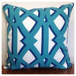 45x45cm Indoor/Outdoor P.Kaufmann Shadow Trellis Caribbean Blue Cushion Cover