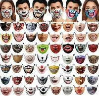 Mouth Face Mask Washable Reusable Scary Horror Mask 3D lips, Goth Scary Teeth