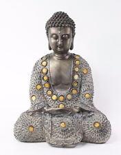 "Feng Shui 10"" Grey/Bronze Buddha Dhyani Mudra Home Decor Peace Statues"