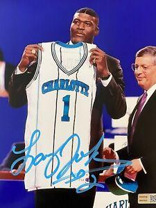 Larry Johnson Signed Autographed 8x10 photo Charlotte Hornets -- COA