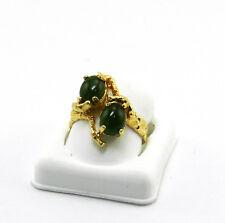 GORGEOUS GREEN JADE 14K GOLD HANDMADE  RING ESTATE # 510