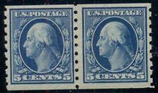 US #396, 5¢ blue, Coil Pair, og, LH, VF, Miller certificate, Scott $160.00