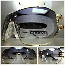 095de42379e7c HUGE OVERSIZE VINTAGE RETRO SHIELD Style SUN GLASSES Gold Frame Smoke Clear  Lens