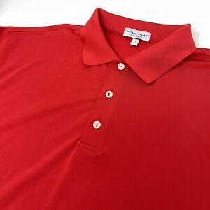 Peter Millar Summer Comfort Men's Large Red Stretch Short Sleeve Polo Golf Shirt