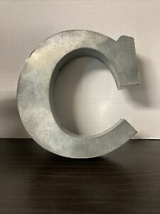 """Large Tin Letter """"C"""" 7.5"""" tall, 1.5"""" thick Free Standing Or Hangable Farmhouse"""