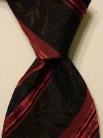 KENZO HOMME Men's Silk Necktie ITALY Luxury FLORAL STRIPED Multi-Color EUC Rare