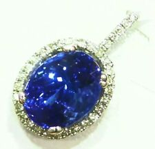 3.05CT 14K Gold Natural Tanzanite White Diamond Vintage AAA Engagement Necklace