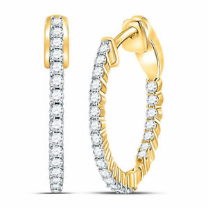 14kt Yellow Gold Womens Round Diamond Inside Outside Hoop Earrings 1/2 Cttw