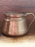 Antique Hammered Made In Turkey Solid Copper Pot Pan With Ornate Brass Handle
