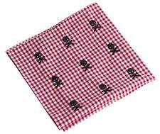 NEW Embroidered Skull Crossbones Gingham Pocket Square Handkerchief
