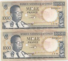CONGO 2 X 1000 FRANCS 1964 CANCELLED CONSECUTIVE F