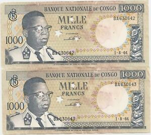 CONGO 2 X 1000 FRANCS 1964 CANCELLED CONSECUTIVE F