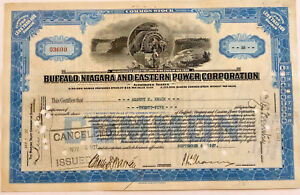 Buffalo Niagara and Eastern Power Corp > 1927 New York falls stock certificate