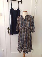 Mexx Karo Mini Kleid wie Neu Tunika Boho Hippie z Overknee Stiefeln Ethno Gr. 34