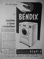 PUBLICITÉ DE PRESSE 1951 MACHINE A LAVER BENDIX BLANCHISSEUSE AUTOMATIQUE