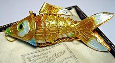 VINTAGE Design ORO SMALTO smaltato articolato Pesce Ciondolo Gioielli Charm