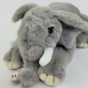 "FAO Schwarz 16"" ELEPHANT Plush Super Soft Gray with Tusks"