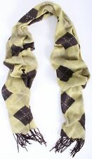 Argyle Diamond Pattern Plaid Green Acrylic Casual Warm Winter Scarf With Frings