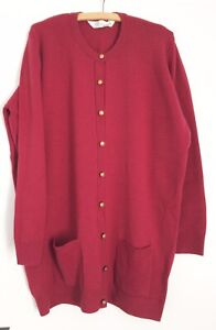 St Michael M&S Pure New Lambswood Long Red Cardigan Gold Button detail Size 22