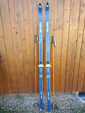 "ANTIQUE Wooden 75"" Long HICKORY Skis + Bindings Signed CASTOR + Bamboo Poles"