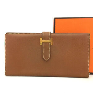 Authentic HERMES Bearn Brown Veau Epsom Leather Long Bifold Wallet  /60644